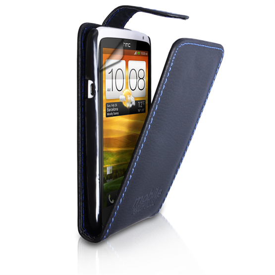 Yousave Accessories HTC One X Black PU Leather Flip Case - Blue Stitching