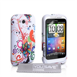 Yousave Accessories HTC Wildfire S Floral Swirl (Design 2) Multicoloured Case