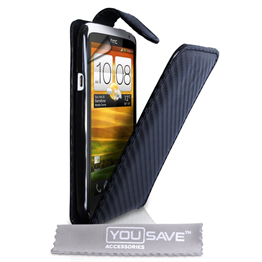Yousave Accessories HTC One X Black Carbon Fibre PU Leather Flip Case