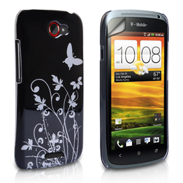 Yousave Accessories HTC One S Black/Silver Butterfly IMD Case