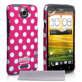 Mobile Madhouse HTC One X Hot Pink Polka Dot Case