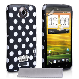 Mobile Madhouse HTC One X Black Polka Dot Case