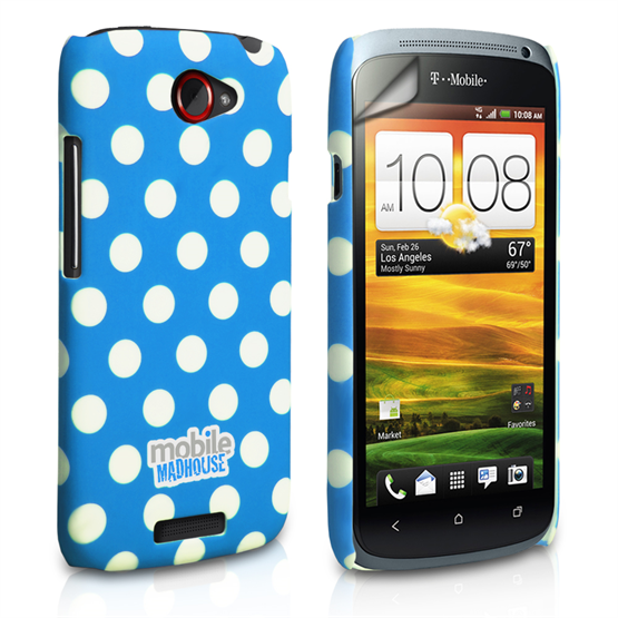 Mobile Madhouse HTC One S Blue Polka Dot Case