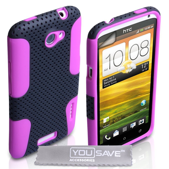 Yousave Accessories HTC One X Mesh Combo Purple Case