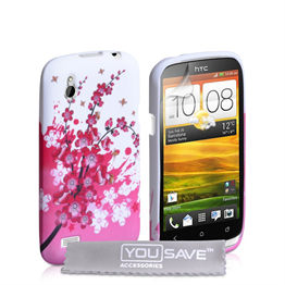 Yousave Accessories HTC Desire X Floral Bee Pink Case