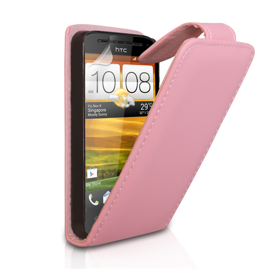 Yousave Accessories HTC One SV Flip Leather Baby Pink Case