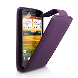 Yousave Accessories HTC One SV Real Leather Flip Purple Case