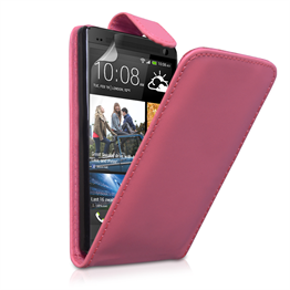 Yousave Accessories HTC One Leather-Effect Flip Case - Hot Pink