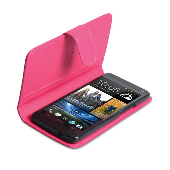 Yousave Accessories HTC One Leather-Effect Wallet Case - Hot Pink