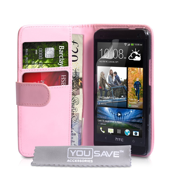 Yousave Accessories HTC One M7 PU Wallet Baby Pink Case