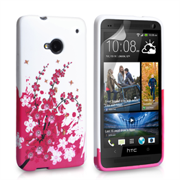 Yousave Accessories HTC One Floral Bee Silicone Gel Case