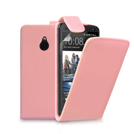 Yousave Accessories HTC One Mini Baby Pink PU Leather Flip