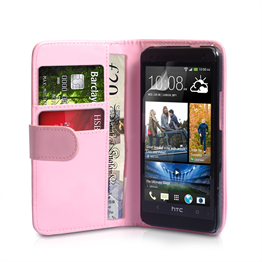 Yousave Accessories HTC One Mini Leather-Effect Wallet Case - Baby Pink