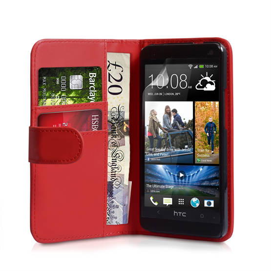 Yousave Accessories HTC One Mini Leather-Effect Wallet Case - Red