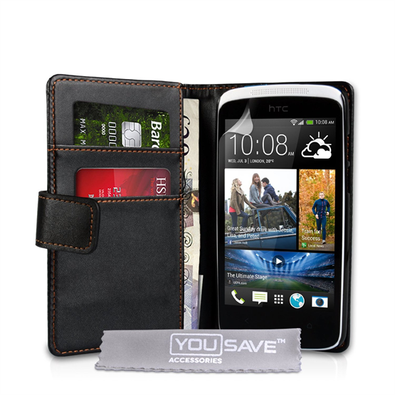 Yousave Accessories HTC Desire 500 PU Flip Black Case