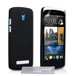 Yousave Accessories HTC Desire 500 Hybrid Black Case