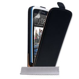 Yousave Accessories HTC Desire 500 Real Leather Flip Black Case