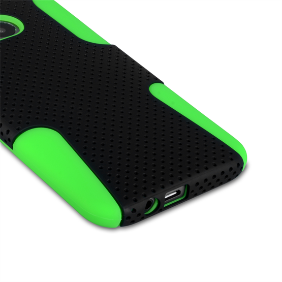 Yousave Accessories HTC One M8 Tough Mesh Combo Silicone Case - Green-Black