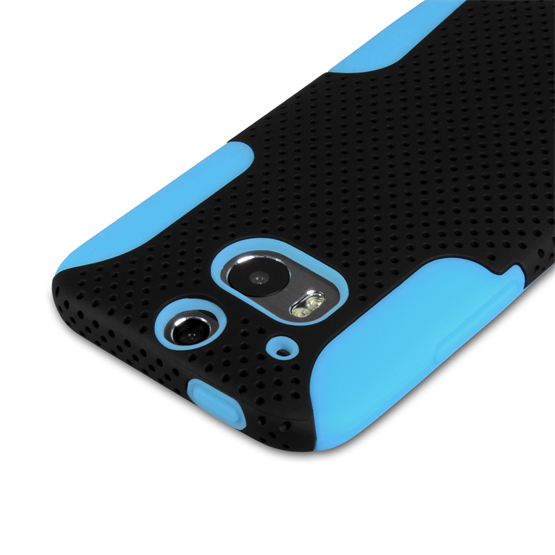 Yousave Accessories HTC One M8 Tough Mesh Combo Silicone Case - Blue-Black
