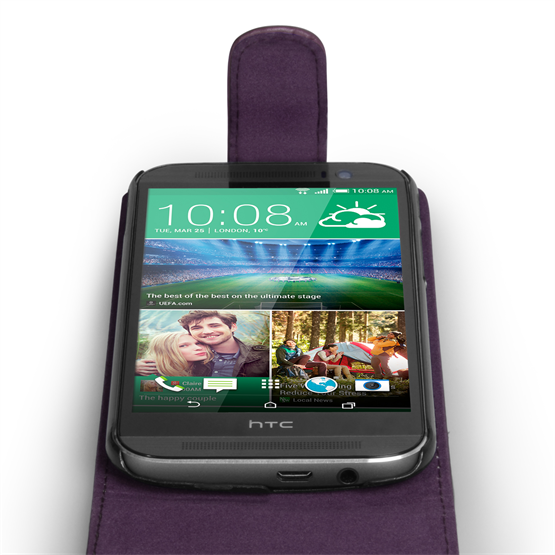 Yousave Accessories HTC One M8 Leather-Effect Flip Case - Purple