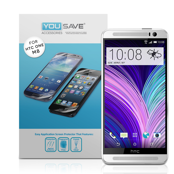 Yousave Accessories HTC One M8 Screen Protectors X 5 Clear