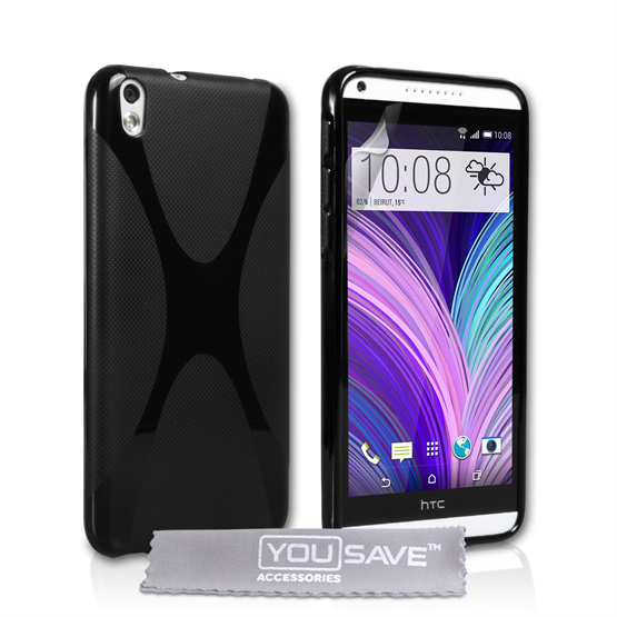 Yousave Accessories HTC Desire 816 Silicone Gel X-Line Case - Black