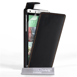 Yousave Accessories HTC Desire 816 Leather-Effect Flip Case - Black