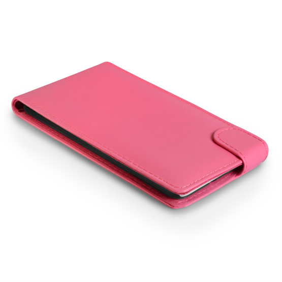 Yousave Accessories HTC Desire 816 Leather-Effect Flip Case - Hot Pink
