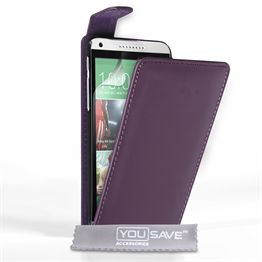 Yousave Accessories HTC Desire 816 Leather-Effect Flip Case - Purple