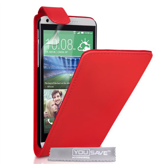 Yousave Accessories HTC Desire 816 Leather-Effect Flip Case - Red