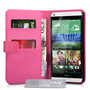 Yousave Accessories HTC Desire 816 Leather-Effect Wallet Case - Hot Pink
