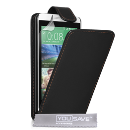 Yousave Accessories HTC Desire 610 Leather-Effect Flip Case - Black