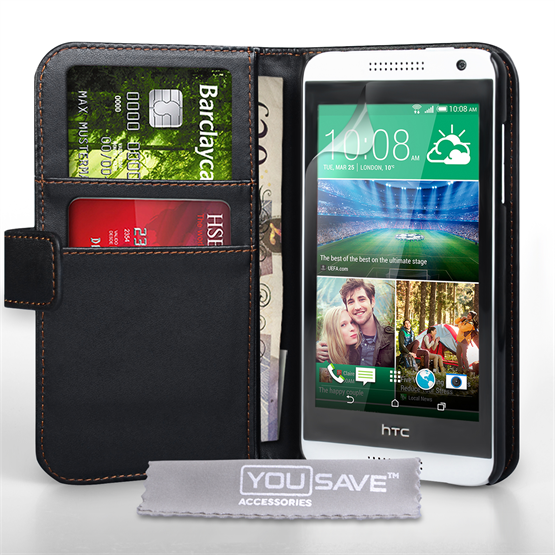 Yousave Accessories HTC Desire 610 Leather-Effect Wallet Case - Black
