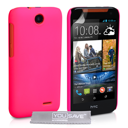 Yousave Accessories HTC Desire 310 Hard Hybrid Case - Hot Pink