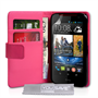 Yousave Accessories HTC Desire 310 Leather-Effect Wallet Case - Hot Pink