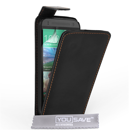 Yousave Accessories HTC One Mini 2 Leather-Effect Flip Case - Black