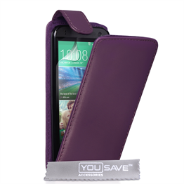 Yousave Accessories HTC One Mini 2 Leather-Effect Flip Case - Purple