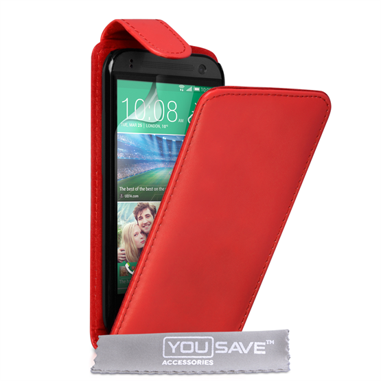 Yousave Accessories HTC One Mini 2 Leather-Effect Flip Case - Red