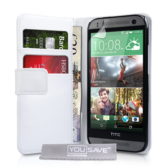 Yousave Accessories HTC One Mini 2 Leather-Effect Wallet Case - White