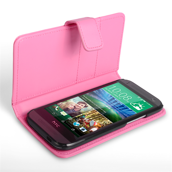Yousave Accessories HTC One Mini 2 Leather-Effect Wallet Case - Hot Pink