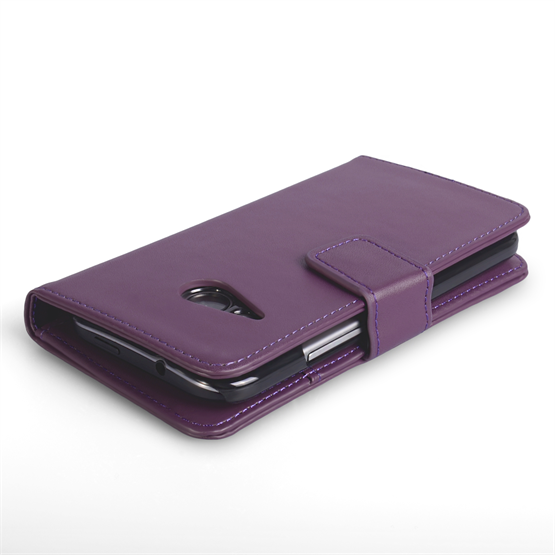 Yousave Accessories HTC One Mini 2 Leather-Effect Wallet Case - Purple