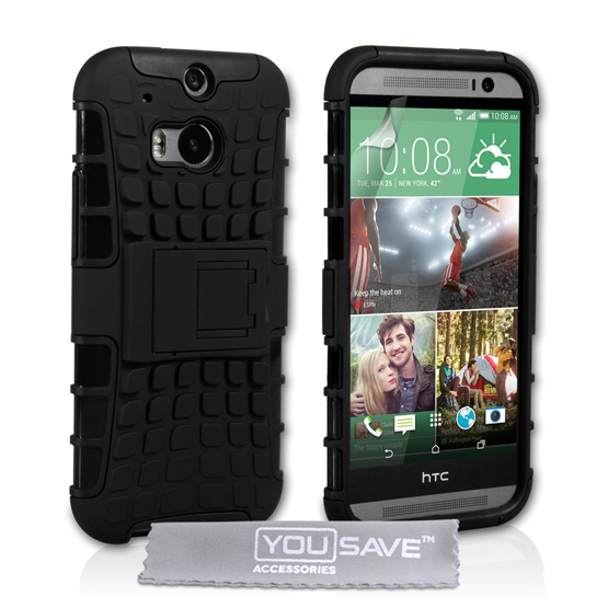 Yousave Accessories HTC One M8 Stand Combo Black Case