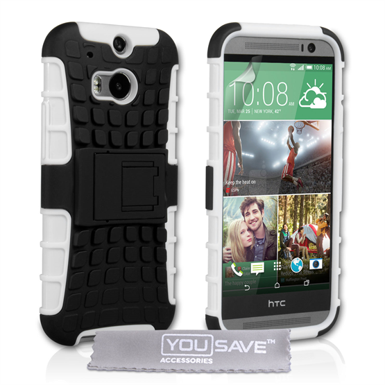 Yousave Accessories HTC One M8 Stand Combo White Case