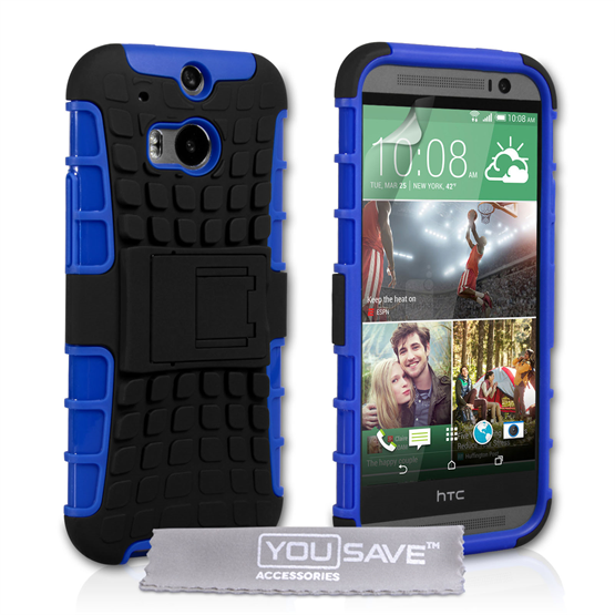 Yousave Accessories HTC One M8 Stand Combo Blue Case