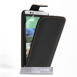 Yousave Accessories HTC Desire 510 Leather-Effect Flip Case - Black