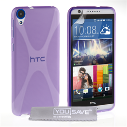 Yousave Accessories HTC Desire 820 Silicone Gel X-Line Case - Purple