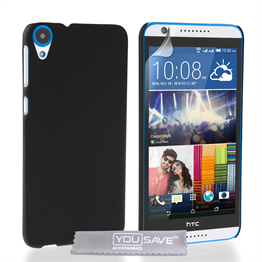 Yousave Accessories HTC Desire 820 Hard Hybrid Case - Black