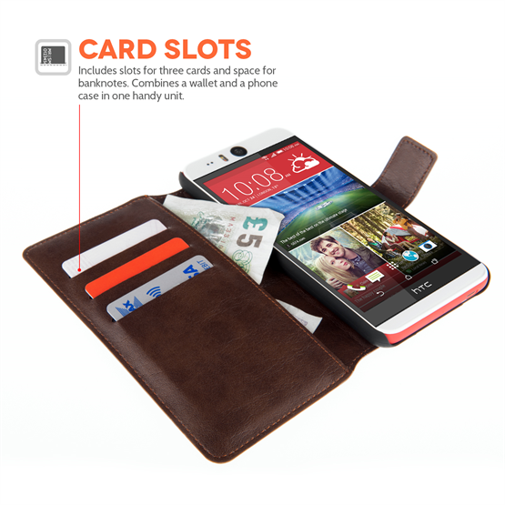 Yousave Accessories HTC Desire Eye New Pu Stand Wallet - New Black