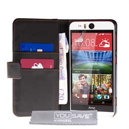 Yousave Accessories HTC Desire Eye Real Leather-Effect Wallet Case - Black