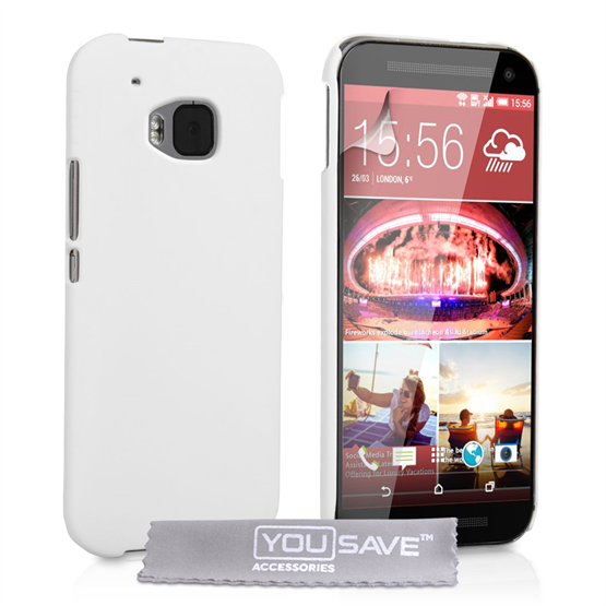 Yousave Accessories HTC ONE M9 Hard Hybrid Case - White